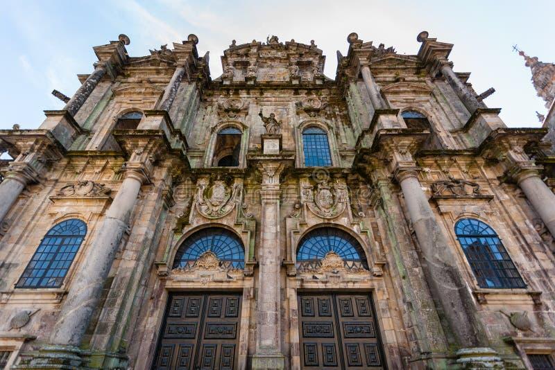 Santiago de Compostela Cathedral North-Türeingangsnahaufnahme konkurrieren lizenzfreie stockbilder