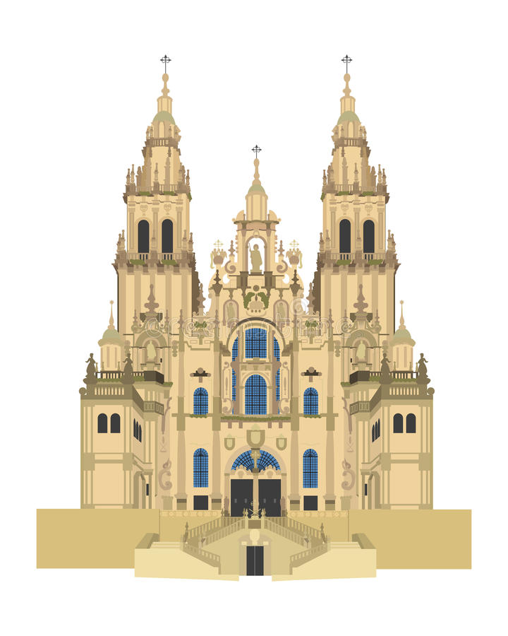 Santiago de Compostela Cathedral, Spain. Vector Illustration stock illustration