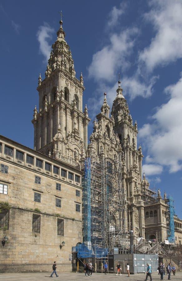 Santiago de Compostela Cathedral van Heilige James, Spanje stock foto