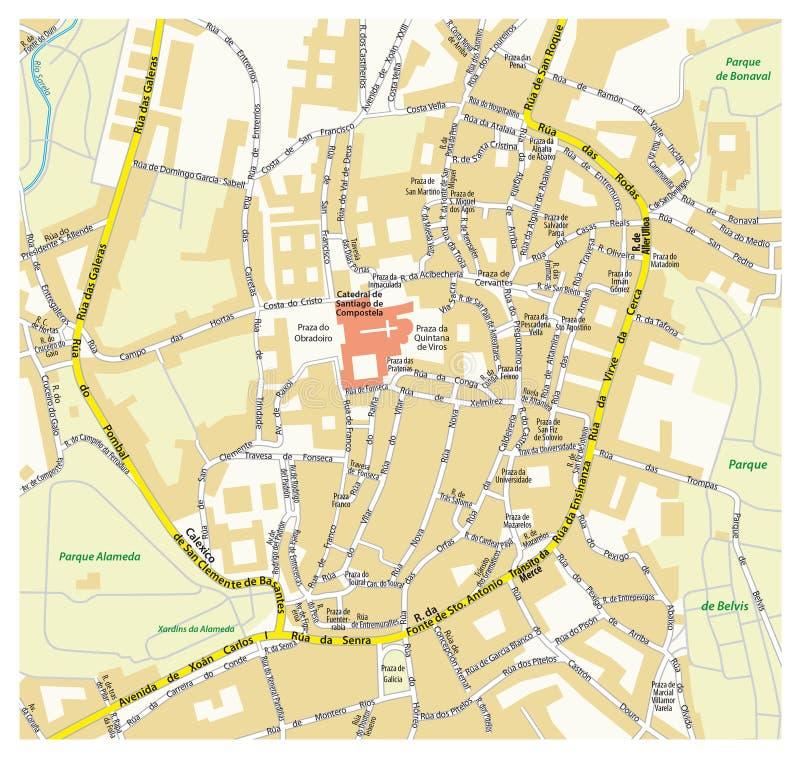 Santiago De Compostela City Map Spain Stock Image Image of park