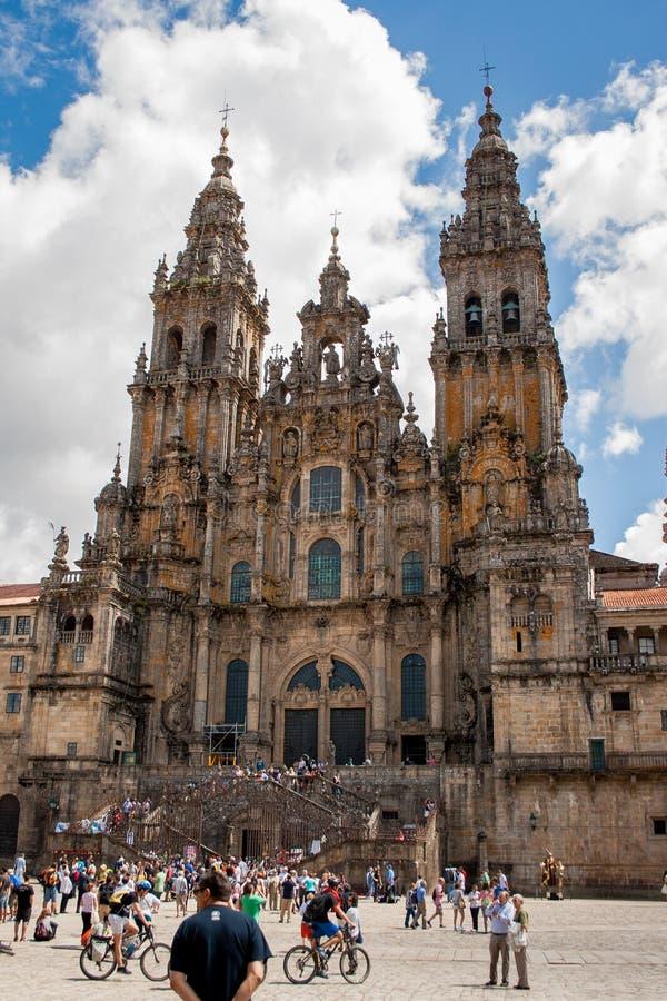 Santiago de Compostela, Galicie, Espagne ; 08-03-2013 : Cathédrale de Santiago de Compostela dans la plaza del Obradoiro photo libre de droits