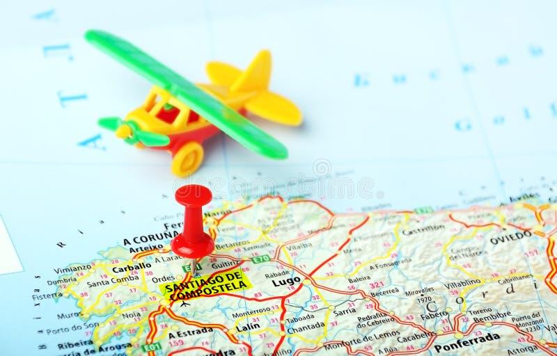 Santiago De Compostela Spain Map Flight Stock Image Image of
