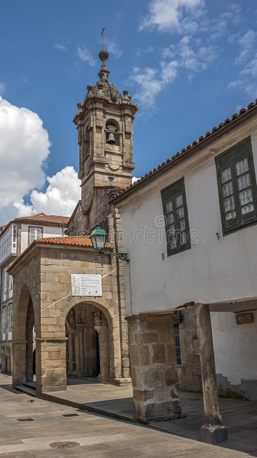 Santiago de Compostela , Spain. The twelfth century a small church. In one of the narrow stone streets of the city near the cathedral stock photos