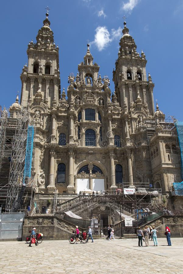 Santiago de Compostela, Spanje - Juni 14, 2018: Santiago de Compos stock afbeeldingen
