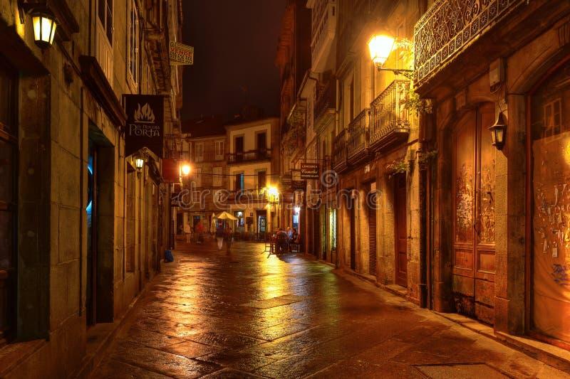 Santiago de Compostella vid natt arkivbild