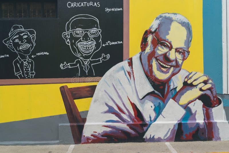 SANTIAGO, DOMINICAN REPUBLIC / JUNE 9, 2019: Wall art of Freddy Beras-Goico. In the city of Santiago de los Caballeros royalty free stock images