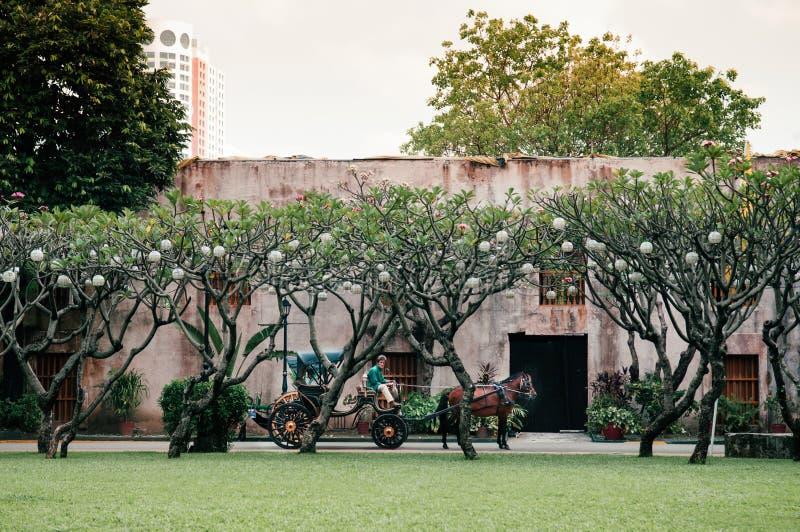 Santiago velho do forte com transporte do cavalo, Manila, Filipinas imagem de stock royalty free