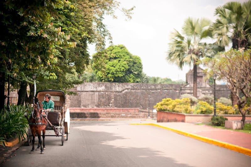 Santiago velho do forte com transporte do cavalo, Manila, Filipinas fotos de stock