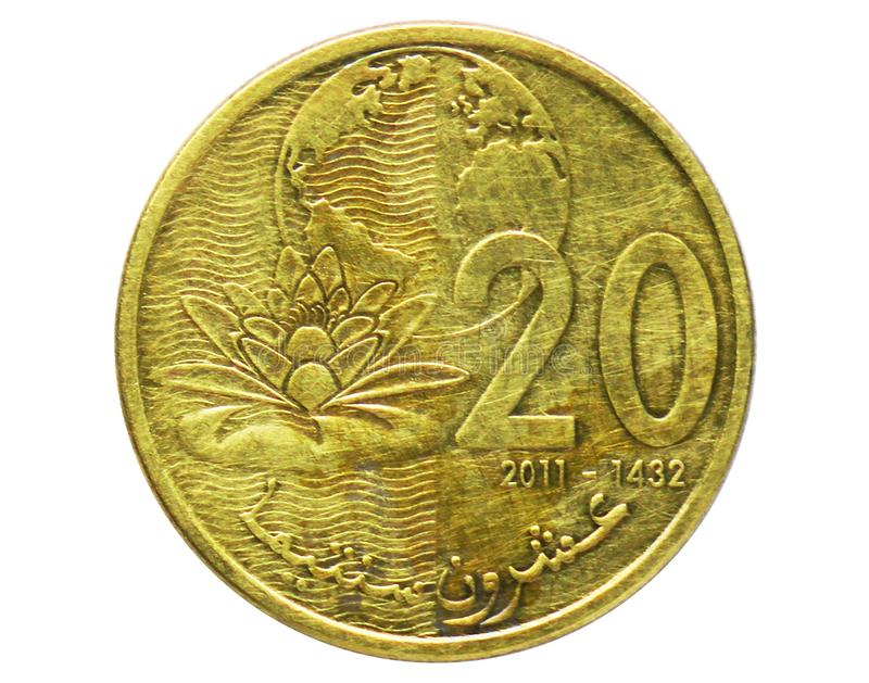 20 Santimat die Seerose-und Wasser-Schutzmünze, 2002-/AH1420-Today   Mohammed VI-serie, Bank von Marokko lizenzfreie stockfotografie