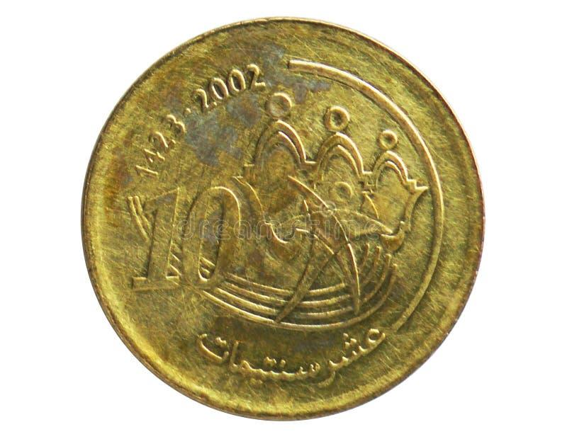 10 Santimat Sport- und solidaritätsmünze, 2002-/AH1420-Today   Mohammed VI-serie, Bank von Marokko lizenzfreies stockfoto
