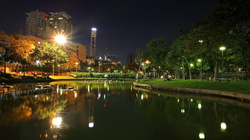 Santiphap Park at twilight with skyline reflection stock photo
