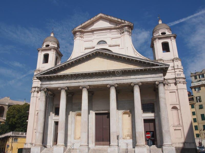 Santissima安农齐亚塔教会在热那亚意大利 免版税库存照片