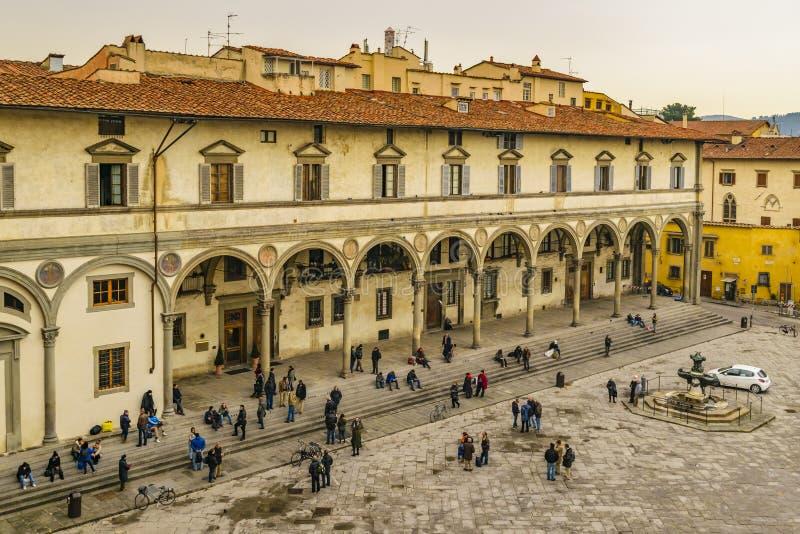 Santissima Annunziata Piazza, Florence, Italien royaltyfria bilder