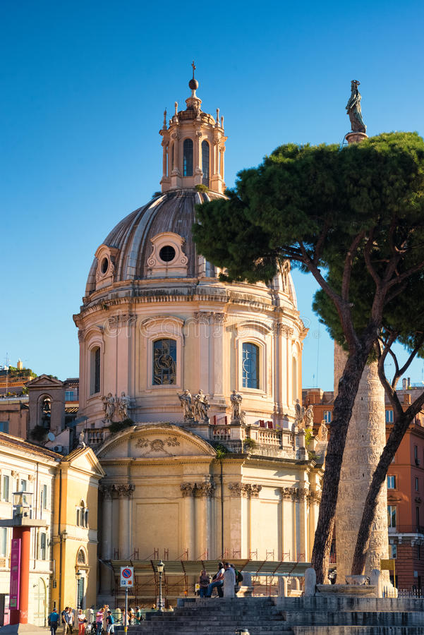 Santissimo Nome Di Maria al Foro Traiano kościół w Rzym, Włochy zdjęcie royalty free