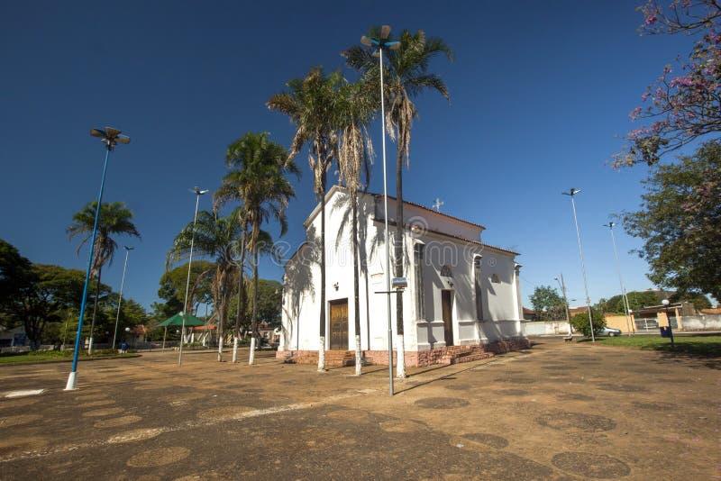 Santo安东尼奥教会在与工作的brodowski城市在Cand旁边 库存照片