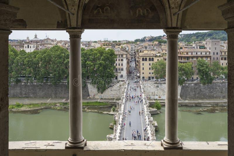 Santo Ángel del puente Visión desde el mausoleo de Hadrian o de la casta fotos de archivo libres de regalías