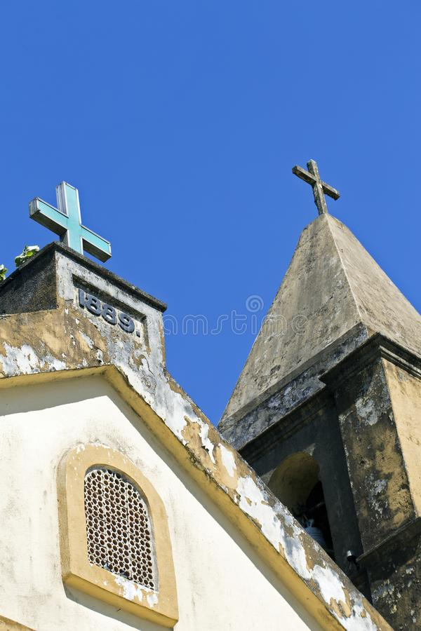 Detail of old church of the small village Paranapiacaba. Santo andre, sp, brazil- august 27, 2016 - The main building of the small village of Paranapiacaba built stock image