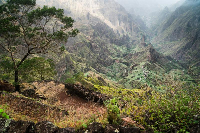 Santo Antao, Cape Verde. Hiking trail path leading between mountains into Xo-Xo valley with scenic impressive landscape stock images