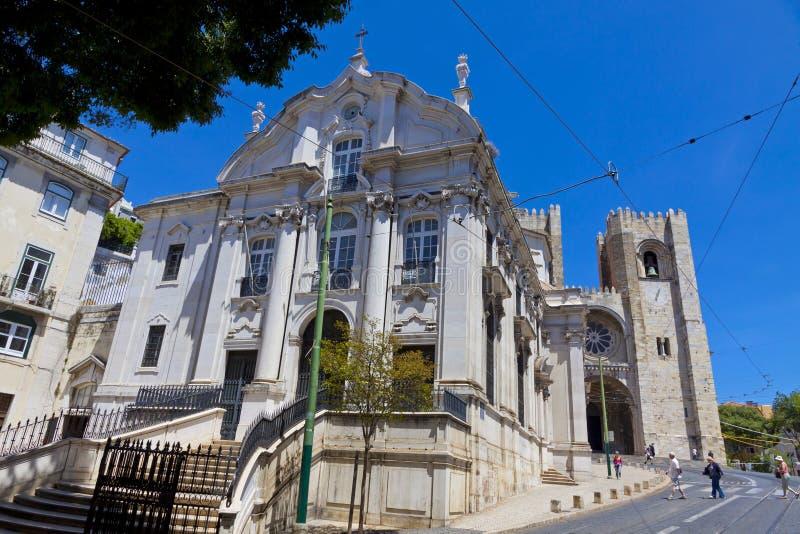 Santo Antonio Church och Lissabon domkyrka, Portugal arkivfoto