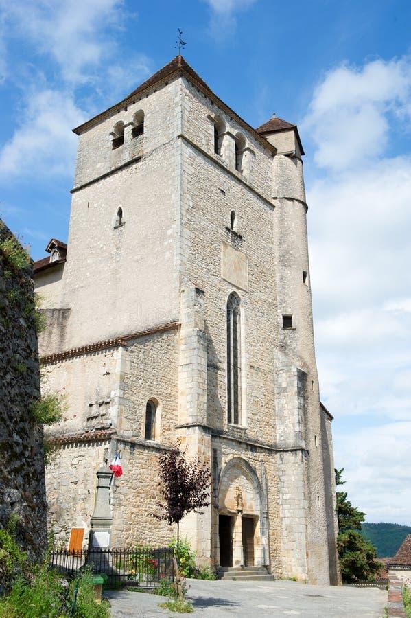 Santo-cirq-Lapopie francés de la iglesia imágenes de archivo libres de regalías