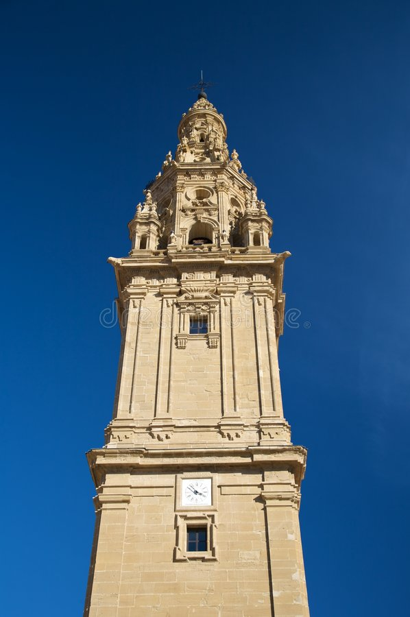 Santo domingo bell tower. Street in santo domingo de la calzada la rioja spain royalty free stock images