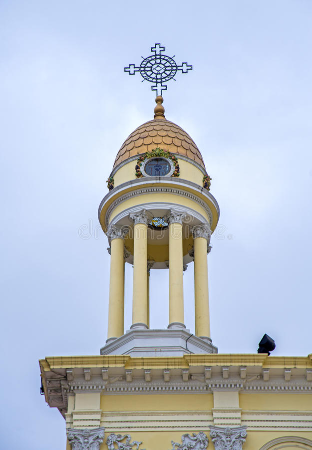 Santo Domingo church dome. Tower and dome with a cross on the Santo Domingo church in Guayaquil city, Ecuador royalty free stock image