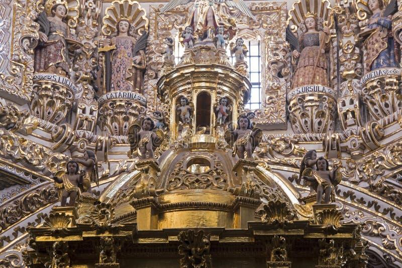 Santo Domingo church interior in Puebla royalty free stock photos