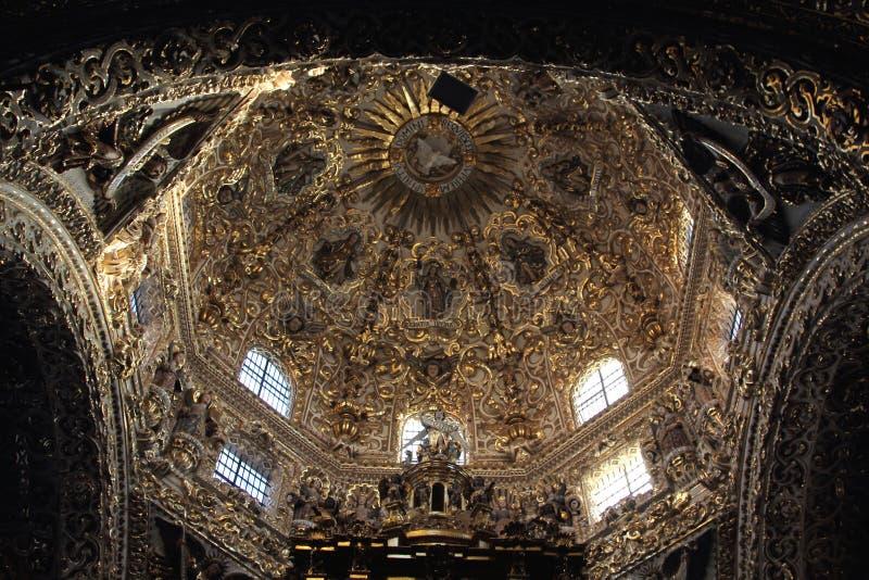 Santo Domingo Church, Puebla, Mexique images libres de droits
