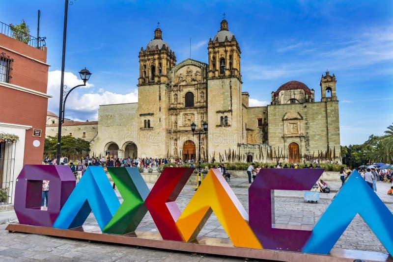 Santo Domingo de Guzman Facade Church Oaxaca Mexico. Oaxaca Sign Santo Domingo de Guzman Facade Church Monastery Oaxaca Mexico. Built between 1575 to 1857 stock images