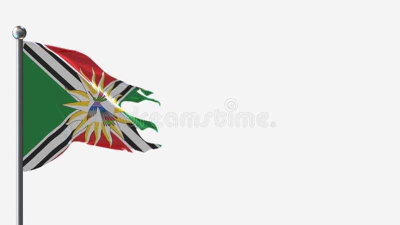 Santo Domingo de los Tsachilas Ecuador 3D: ilustracja falująca na Flagpole ilustracja wektor