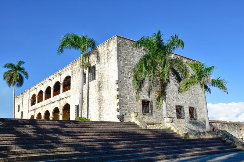 Santo Domingo, Dominicaanse Republiek Alcazar DE Colon (Diego Columbus House), Spaans Vierkant stock foto's