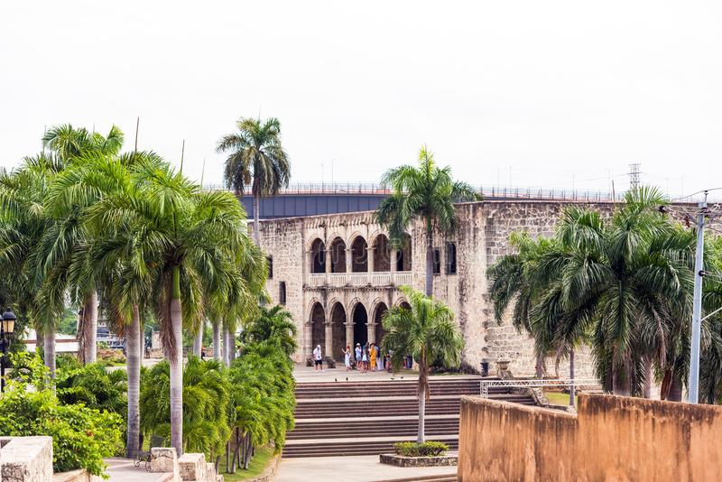 SANTO DOMINGO, DOMINICAN REPUBLIC - AUGUST 8, 2017: The house of Columbus, the first stone building. Copy space for text. royalty free stock images