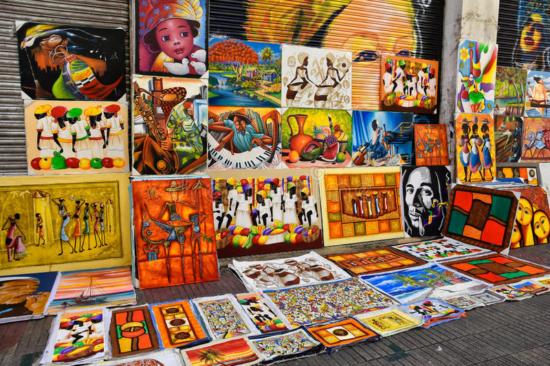 Santo Domingo, Dominican Republic. Caribbean paint in Calle el Conde, sold as souvenirs. Santo Domingo, Dominican Republic. Caribbean paint in Calle el Conde stock photo