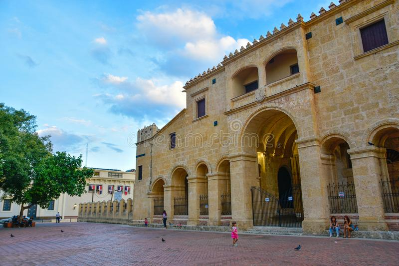 Santo Domingo, Dominican Republic. Close-up of Basilica Cathedral of Santa María la Menor. Santo Domingo, Dominican Republic. Catedral Primaria de America stock images