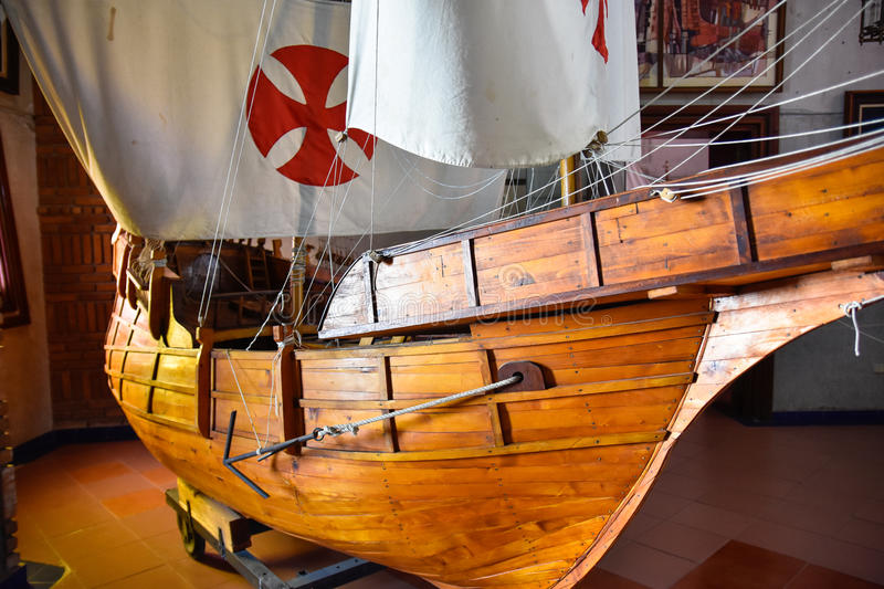 SANTO DOMINGO, DOMINICAN REPUBLIC. Columbus` ships reproduction. Museum inside the Lighthouse of Christopher Columbus. stock images