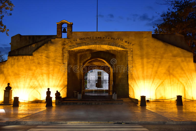 Santo Domingo, Dominican Republic. El Conde door in the evening. Colonial Zone stock images