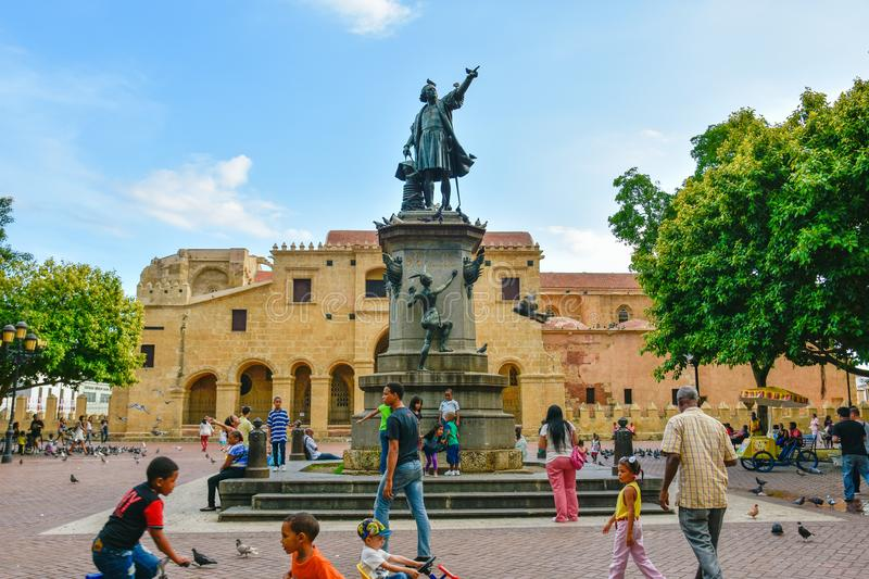 Santo Domingo, Dominican Republic. Famous Christopher Columbus statue and Cathedral Santa María la Menor in Columbus Park. royalty free stock images