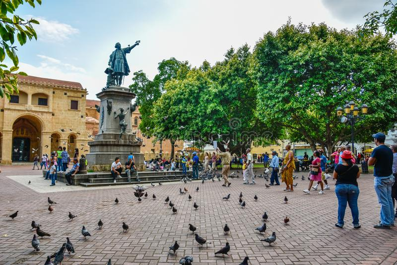 Santo Domingo, Dominican Republic. Famous Christopher Columbus statue and Cathedral Santa María la Menor in Columbus Park. Colonial Zone of Santo Domingo stock images