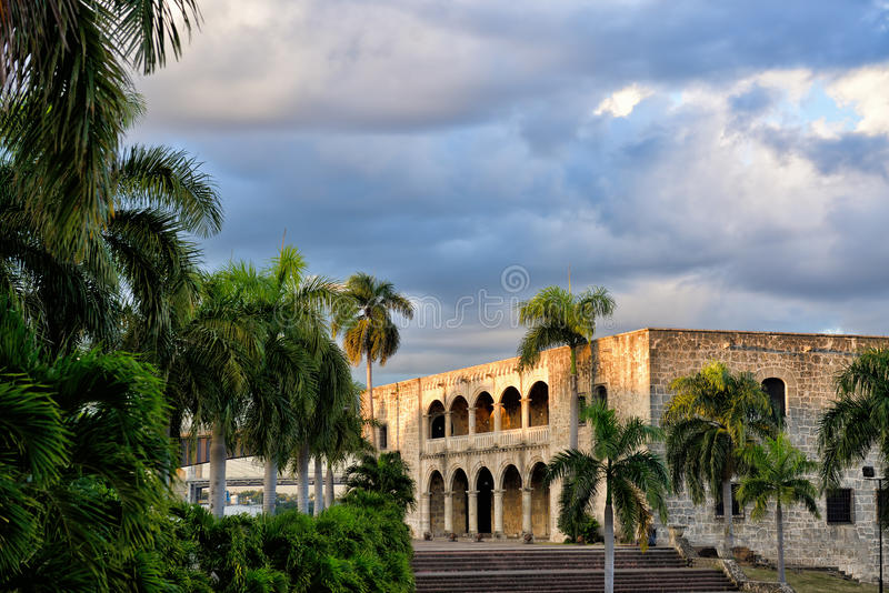 Santo Domingo, Dominican Republic, Plaza Espana, Alcazar de Colo. N in the sunset, Colonial Zone, UNESCO World Heritage Site royalty free stock photo