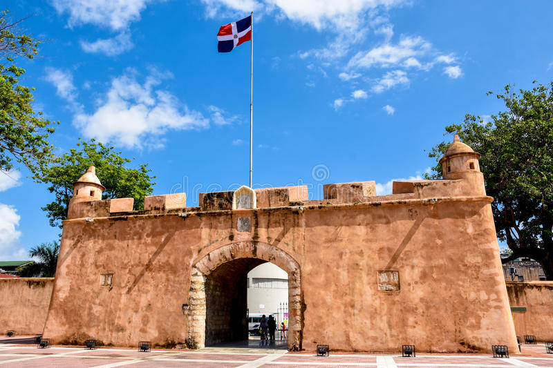 Santo Domingo, Dominican Republic. Puerta del Conde (The Count's Gate). Santo Domingo, Dominican Republic. Altar de la Patria, The Altar of the Homeland. Houses stock photo