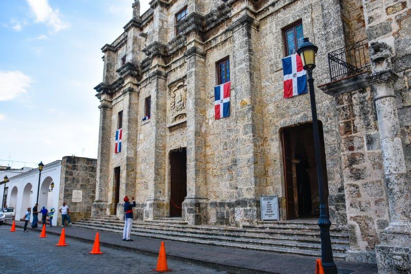 Santo Domingo Dominikanska republiken Nationell panteon som lokaliseras i den Las Damas gatan fotografering för bildbyråer