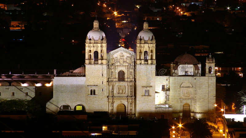 Santo Domingo night shot. A picture of Santo Domingo taken from el fortin in the Oaxaca valley stock photos
