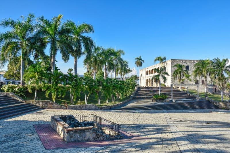 Santo Domingo, República Dominicana Alcazar de Dois pontos (Diego Columbus House), quadrado espanhol fotografia de stock royalty free