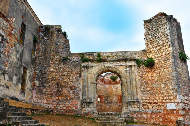 Santo Domingo, Repubblica dominicana Monumento Ruinas de San Francisco Il monastero di San Francisco Colonial Zone fotografia stock
