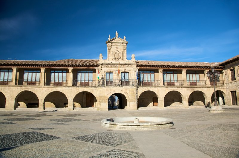 Santo domingo town hall. Street in santo domingo de la calzada la rioja spain royalty free stock image