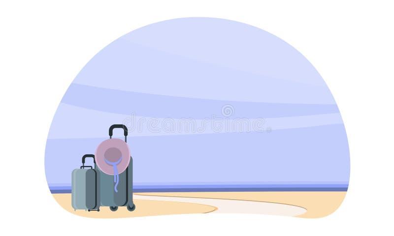 Santo- DomingoHotelzimmer Sommerplakat, Koffer durch das Meer, der Anfang der Reise, Sommer Plakat für Ihr Geschäft lizenzfreie abbildung
