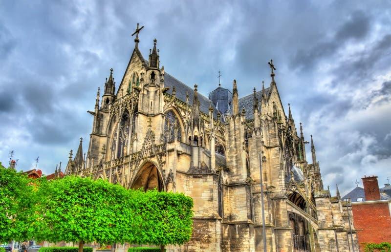 Santo gótico Urbain de la basílica de Troyes en Francia imagen de archivo