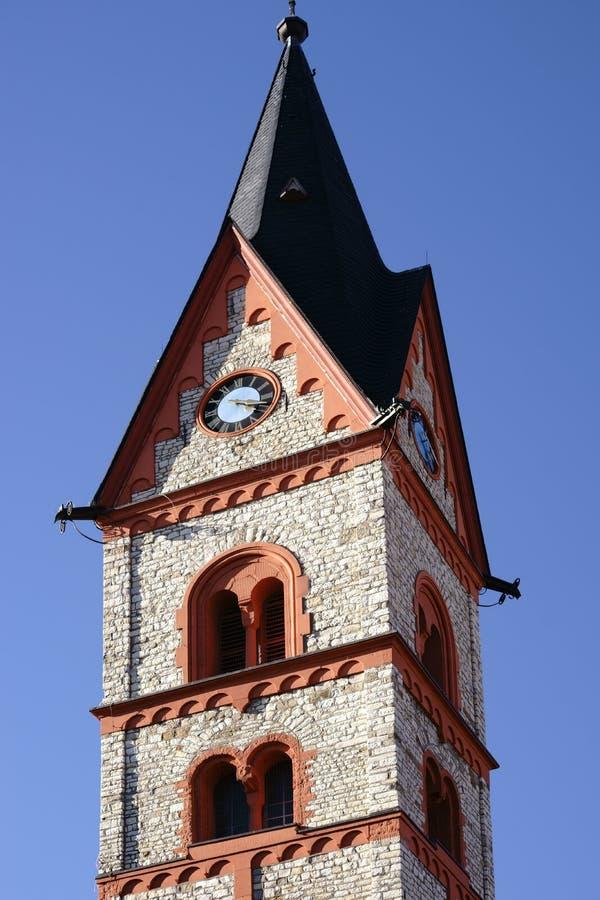 Santo Georg Church Nieder-Olm de la torre de reloj imágenes de archivo libres de regalías