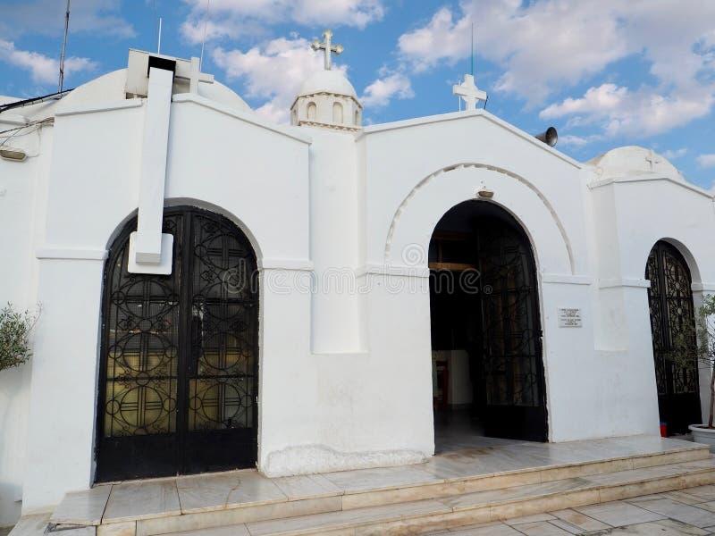 Santo George Church Monastery en la colina de Lycabettus fotos de archivo