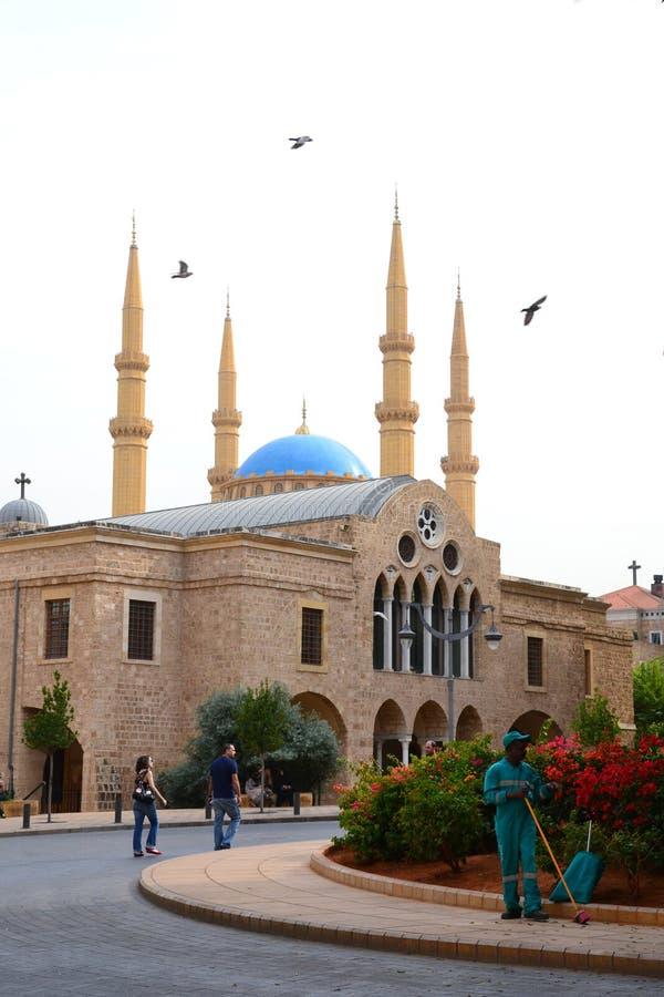 Santo George Greek Orthodox Cathedral y Mohammad Al-Amin Mosque imagen de archivo